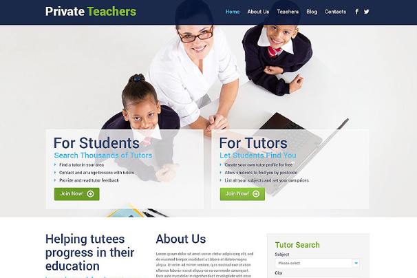 Private Teachers WordPress Theme