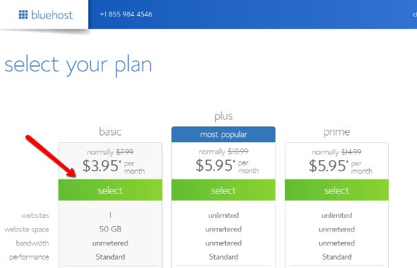 choose bluehost plan