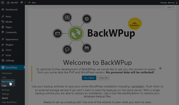 BackWPup - Add New Job