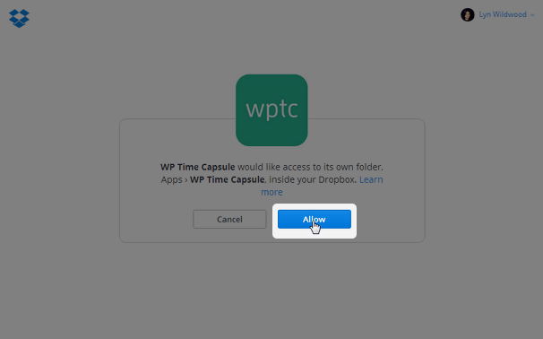 WP Time Capsule - Allow Dropbox Access