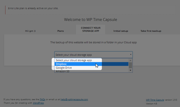 WP Time Capsule - Choose Dropbox