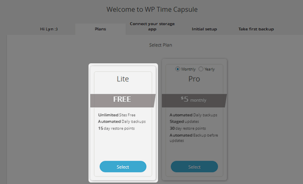 WP Time Capsule - Lite Plan
