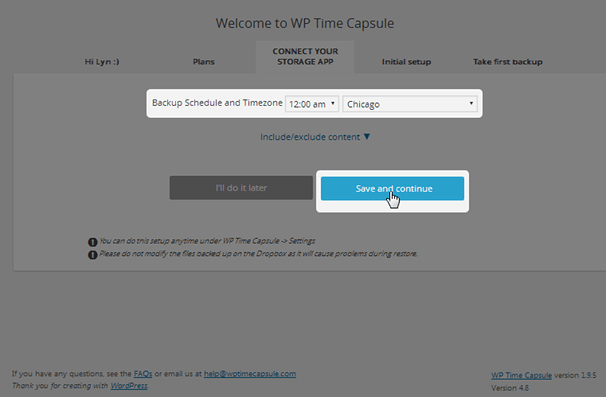 WP Time Capsule - Select Time