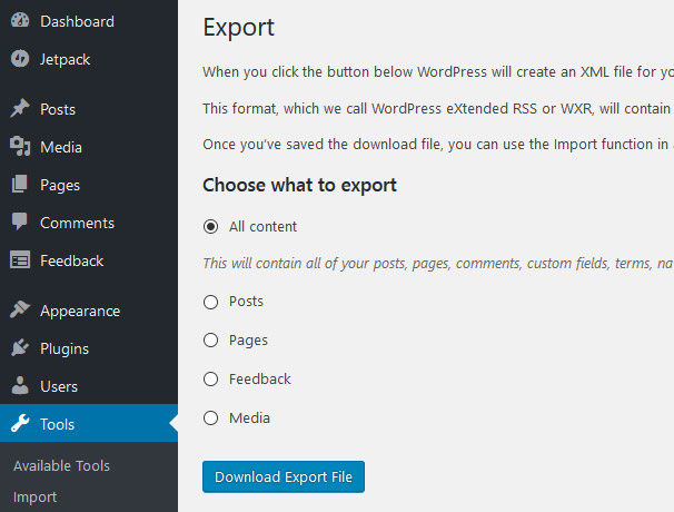 Export Your Content