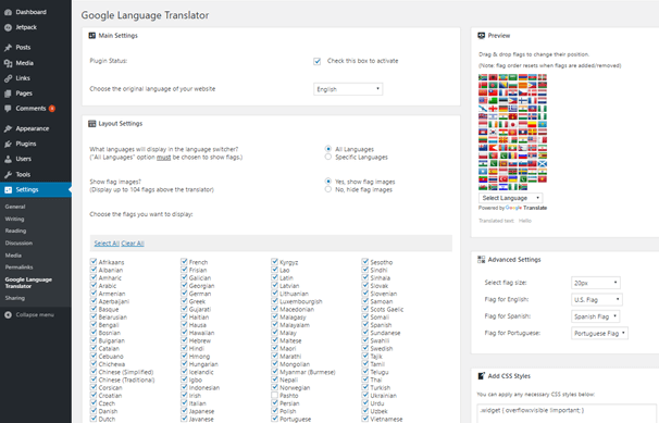 Google Language Translator WordPress Plugin