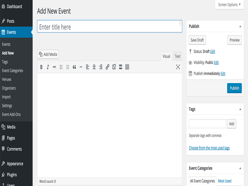 Creating Event, Event Calendar Plugin