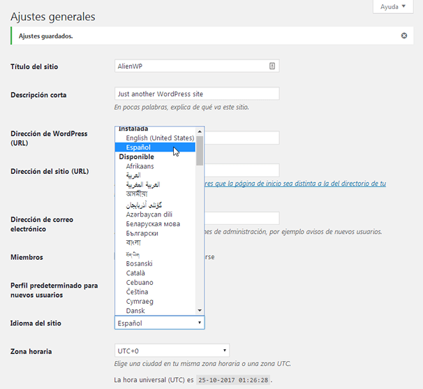 WordPress in Spanish