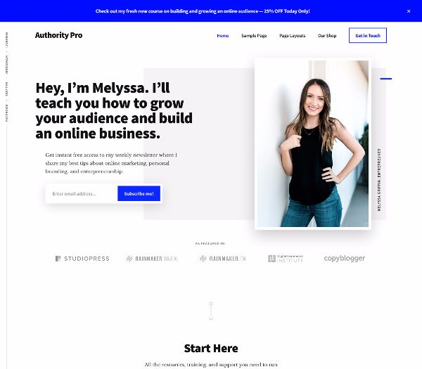 authority pro is a great theme to build a personal brand