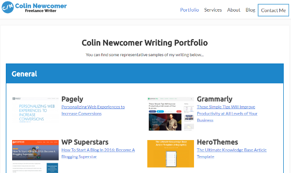 An example of a portfolio built with a page builder