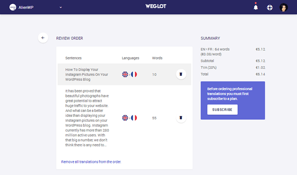 Weglot - Shopping Cart